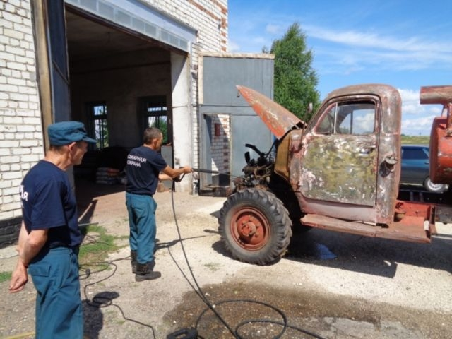Repaired Old Soviet Fire Truck