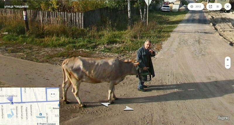 What can be seen on Russian google street view panoramic shots [32 images]
