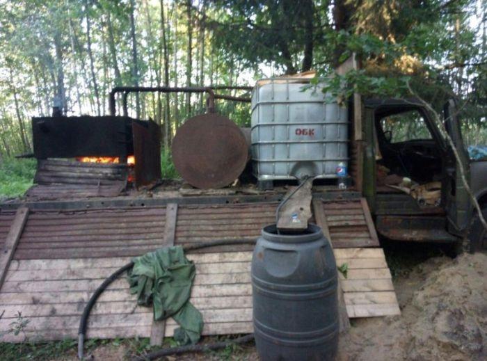 Man Was Making Moonshine for Sale Deep in Woods in Belarus