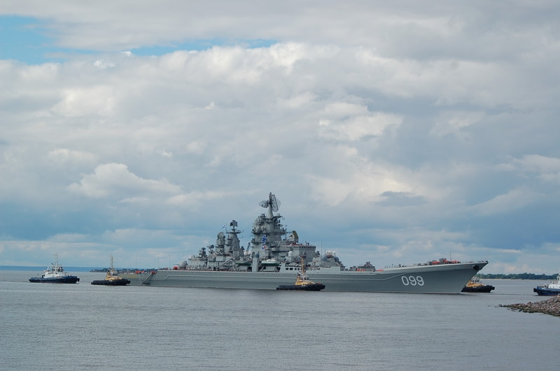 Russian Dmitry Donskoy Submarine and Peter the Great Battle Cruiser Arrived to the Gulf of Finland