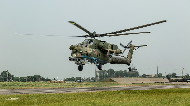 Russian Assault Helicopters Doing a Drill