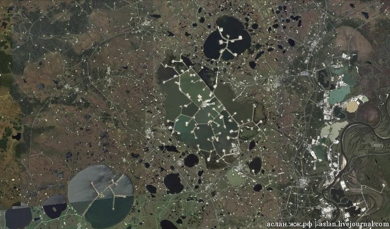 How Russian Oil Field on Artificial Islands Looks Like from Above