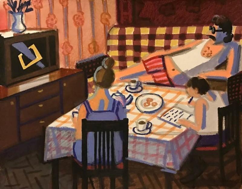 Soviet girl draws her Soviet Childhood