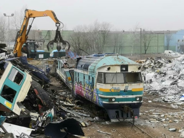 Soviet Diesel Train Destroyed