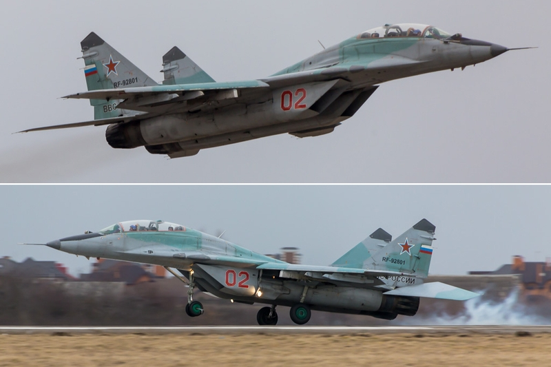 Airplanes on Display on Russian Army Day 2017 in Krasnodar Russia