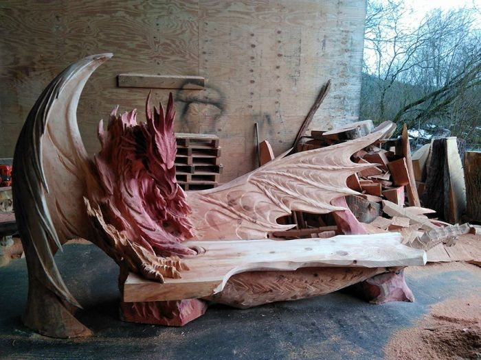 Russian Man Makes a Dragon Shaped Bench out of Wood
