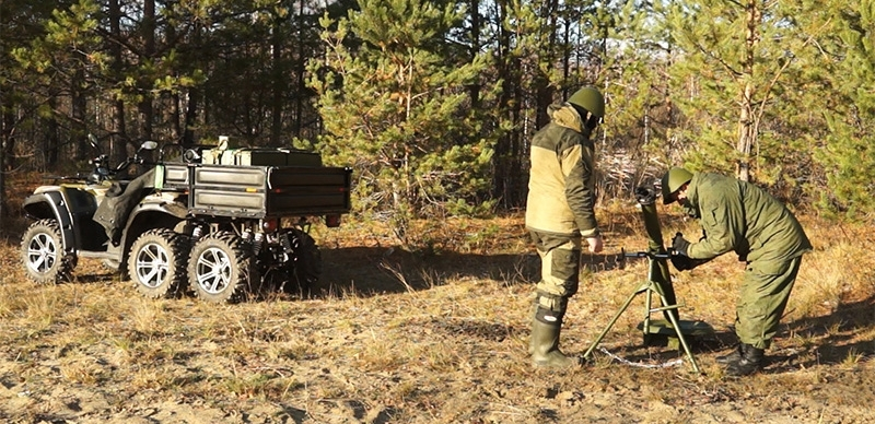 Russian mobile mortar mounted on a ATV