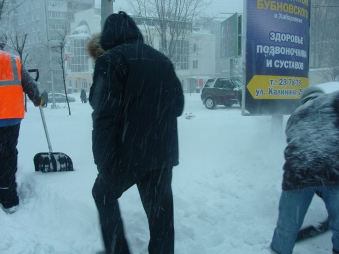 Khabarovsk City Hit with Snow