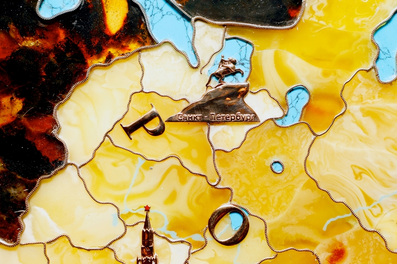 Map of Russia Made of Amber