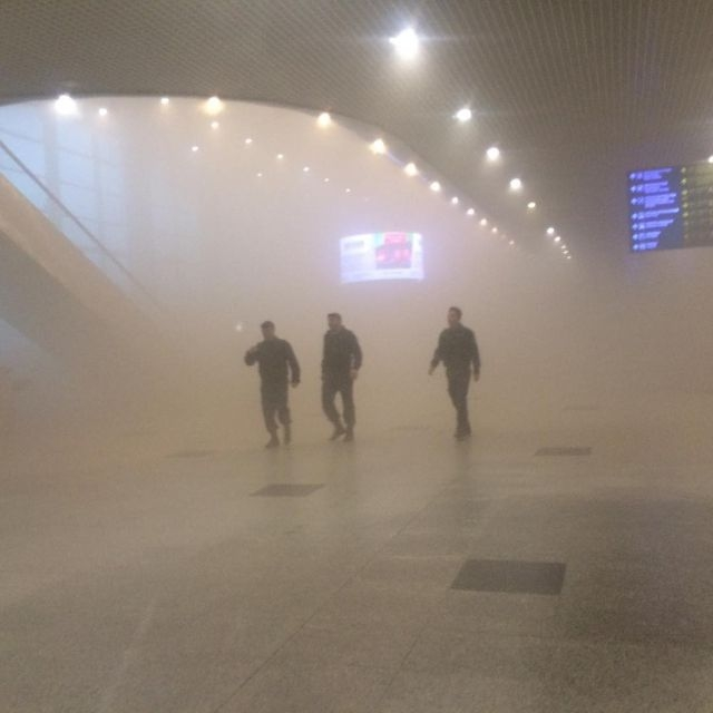 Moscow Domodedovo Airport is in Smoke