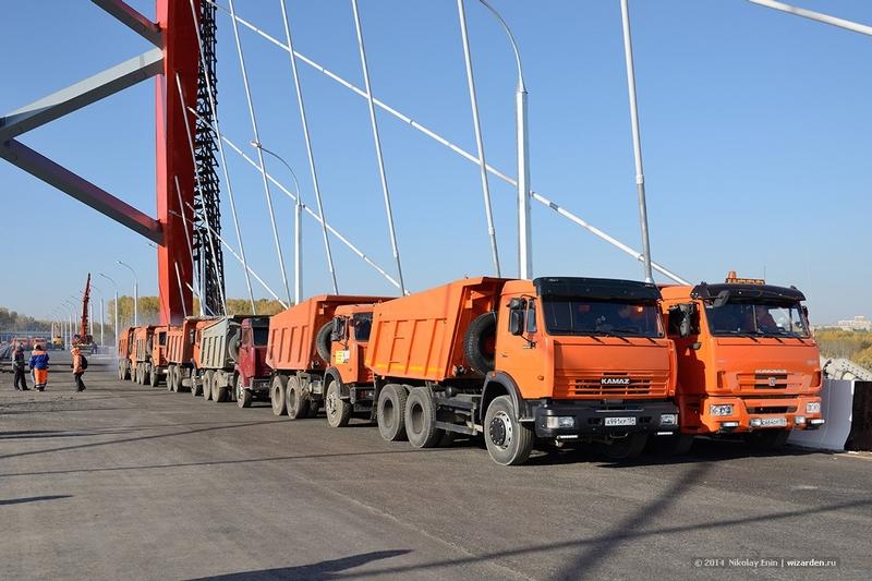 A Bridge Strength Test: 25 Loaded Kamaz Trucks