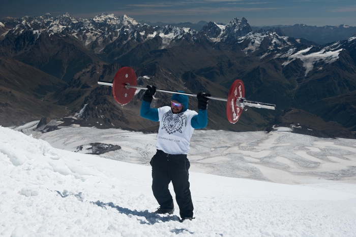 Russian Athlete Travelled to top of the Mountain with a Barbell