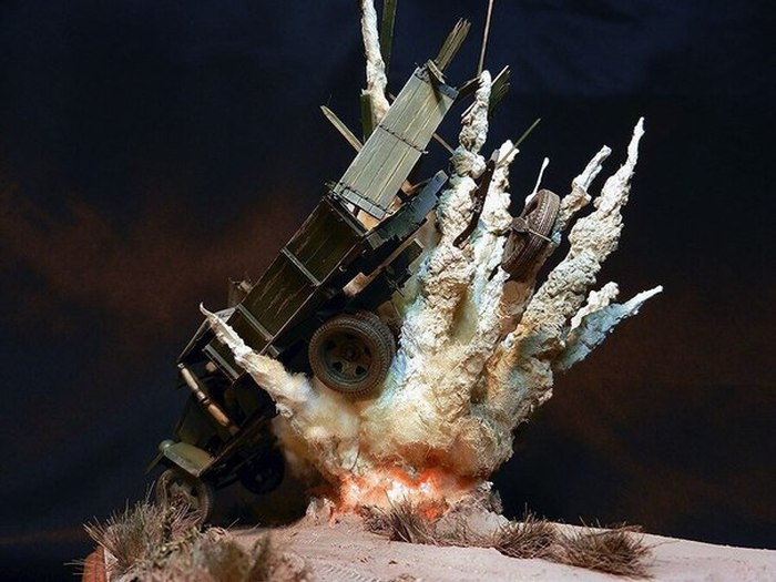 Russian Diorama of Exploding Truck