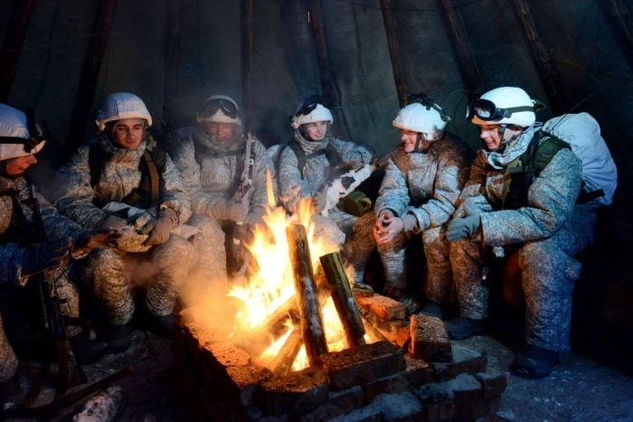 Russian Soldiers in Arctic Drive Dog and Deer Sleds