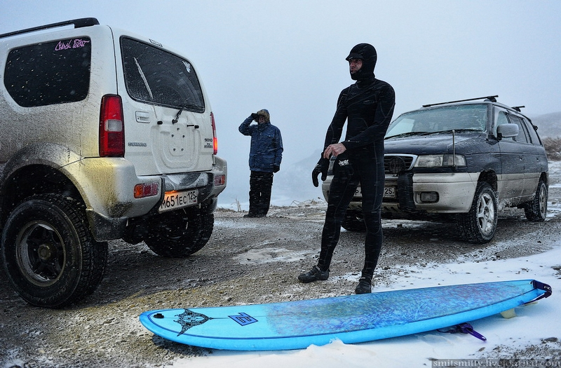 Russian Surfers at Pacific in Ice Cold Water