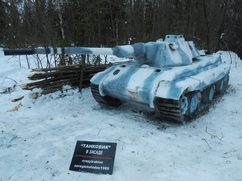 Hundreds of Tanks Made of Snow and Ice in Russian Backyards