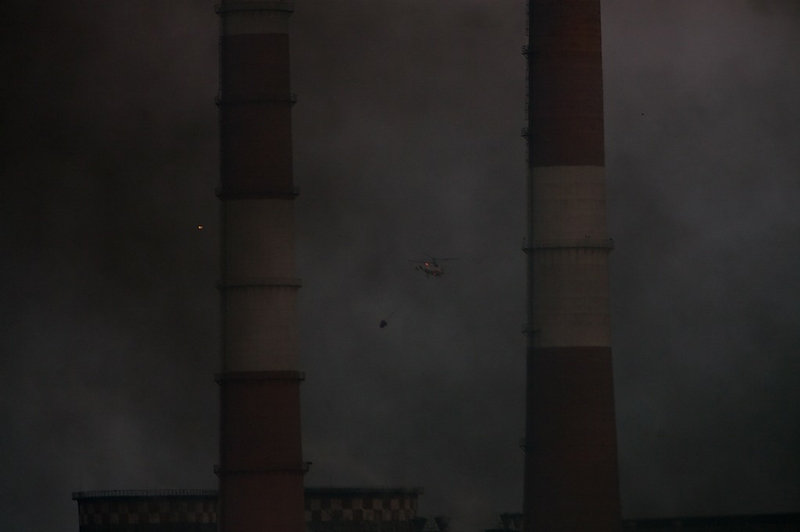 Hot Smoking Sausage Or the Meat Factory On Fire