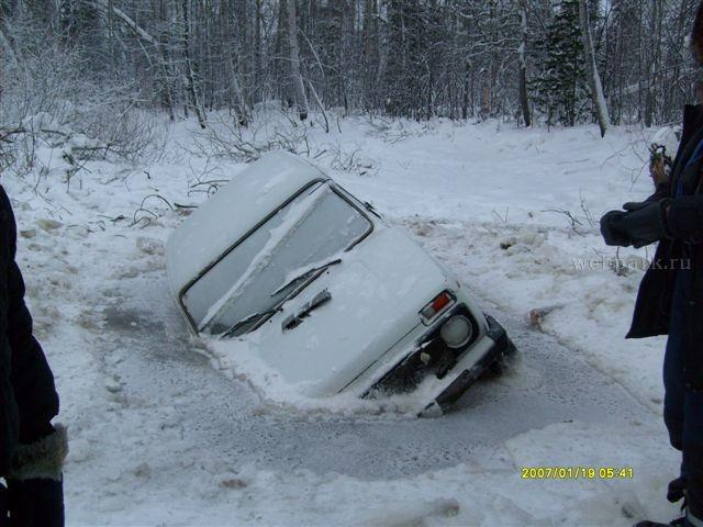 Russian Lada car in ice  1