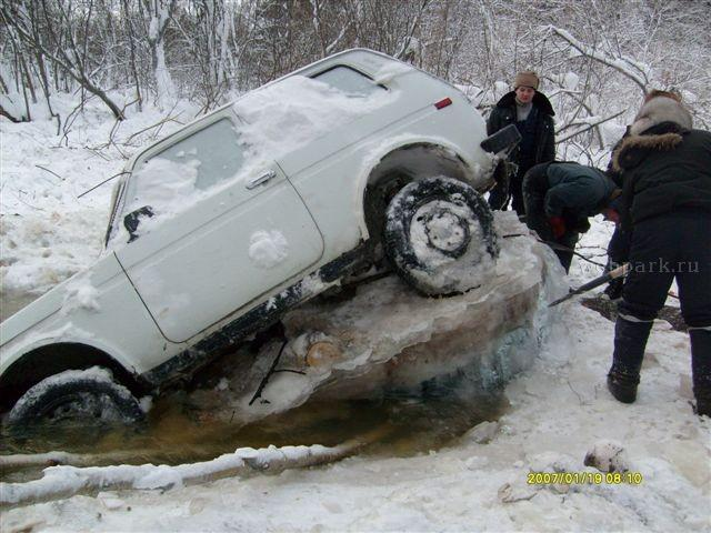 Russian Lada car in ice  2