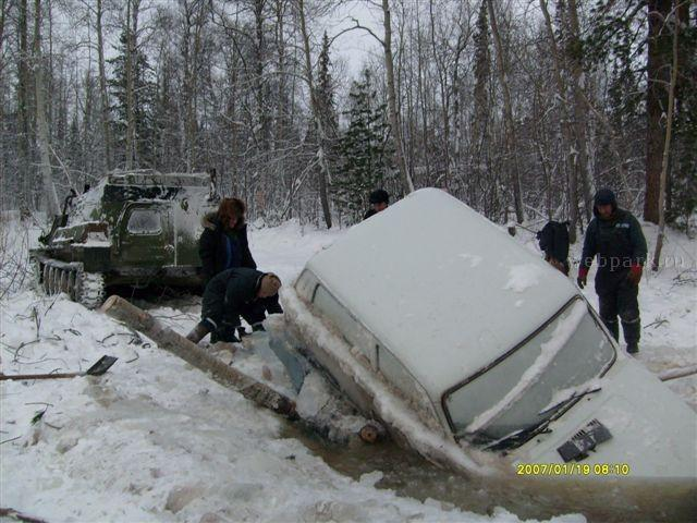 Russian Lada car in ice  3