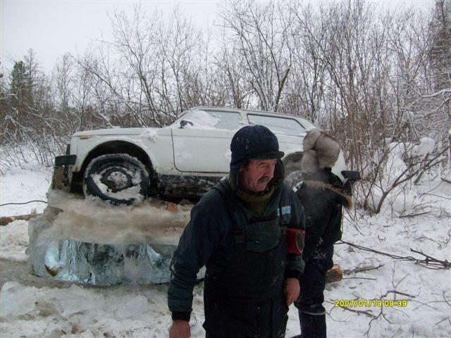 Russian Lada car in ice  4