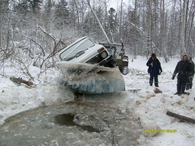 Russian Lada car in ice  5