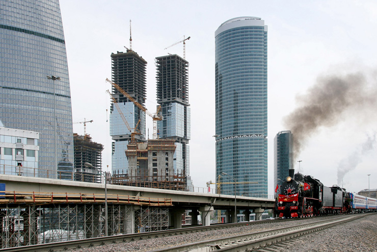 Old Train in Modern Moscow, Russia 1
