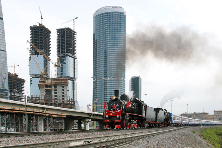 Old Train in Modern Moscow, Russia 2