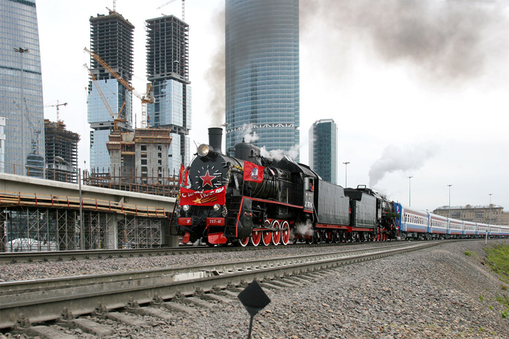 Old Train in Modern Moscow, Russia 3