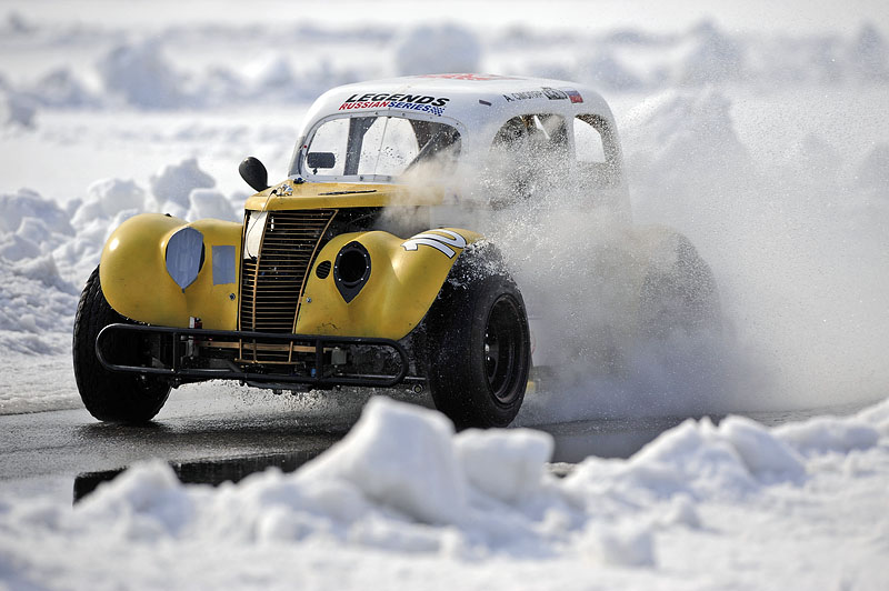 Russian legend cars racing on snow