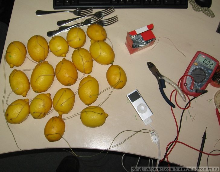 Russians charging ipod with lemons 2