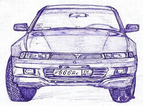 Russian cars drawn with a ball-pen 1