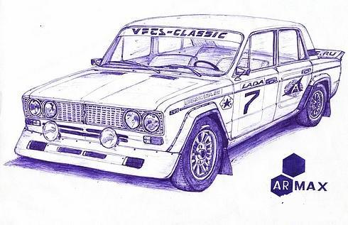 Russian cars drawn with a ball-pen 13