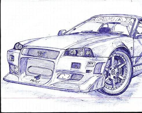 Russian cars drawn with a ball-pen 2