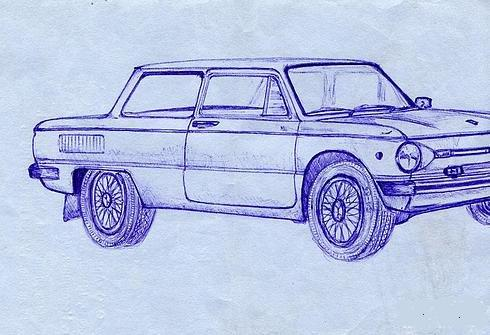 Russian cars drawn with a ball-pen 4