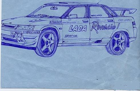 Russian cars drawn with a ball-pen 8