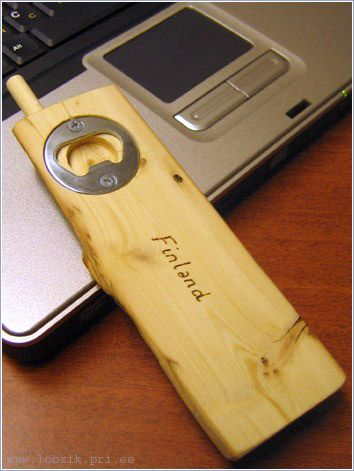 Russian Wooden phone with a bottle opener 4