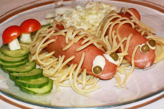 Sausage pinned with spaghetti - haired sausage 4