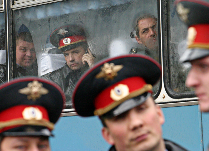 Different faces - different emotions, Russian police during protest action