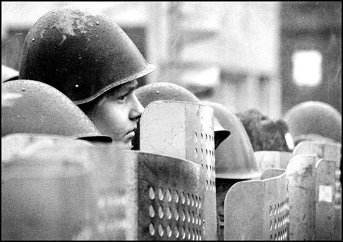 Russian policeman during the protest action, photo by A. Miridonov