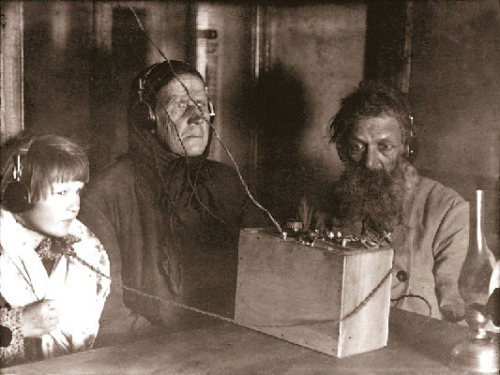Russian vintage shot of people and radio