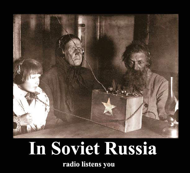 Russian vintage shot of people and radio 10
