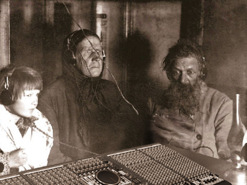 Russian vintage shot of people and radio 2
