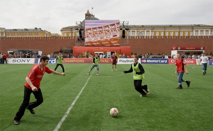 Playing soccer on the Red Square, Moscow, Russia 2