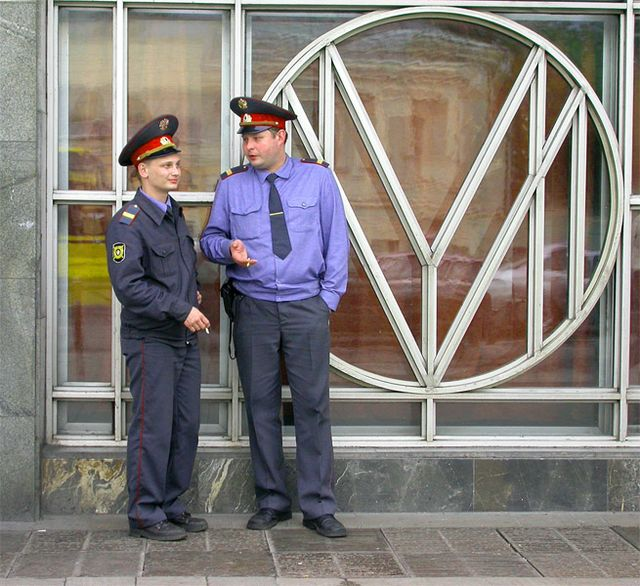 shots of russian police people made on streets of russia while travel to russia