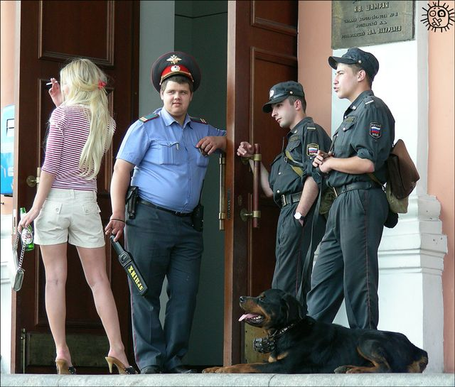 By the beauty of russian girls. even russian cops. even russian dog