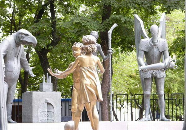 Russian monument with children and sin