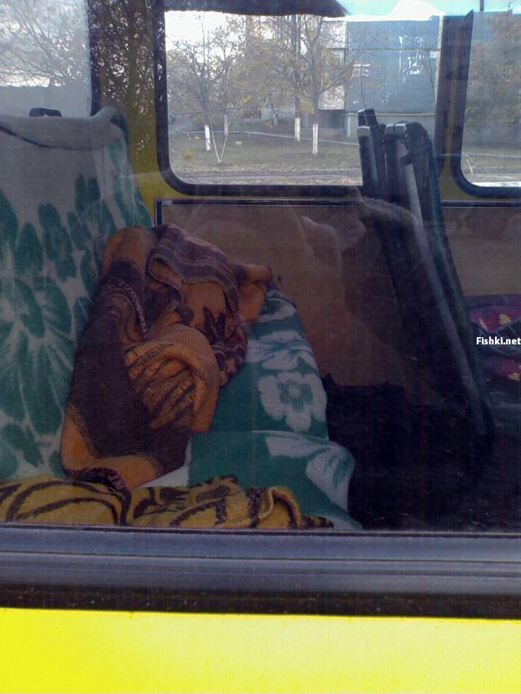 Russian driver sleeps in bus 12