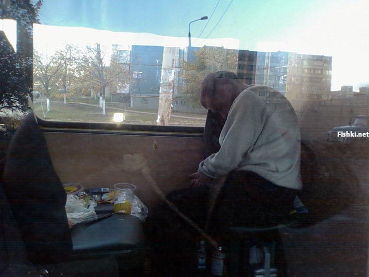 Russian driver sleeps in bus 5