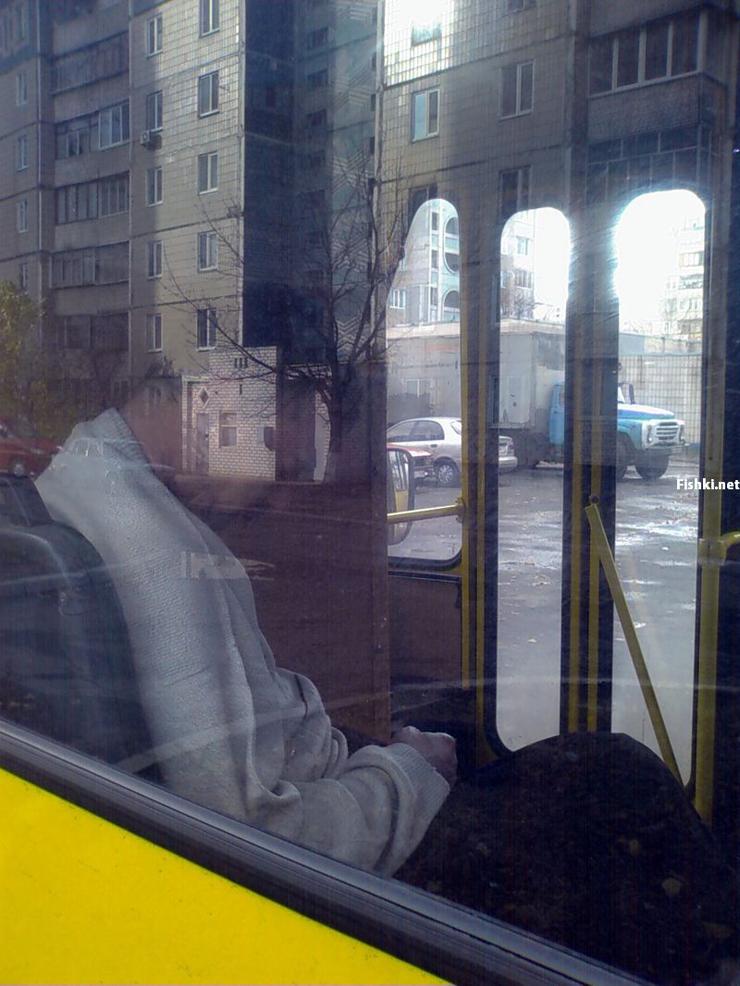 Russian driver sleeps in bus 8